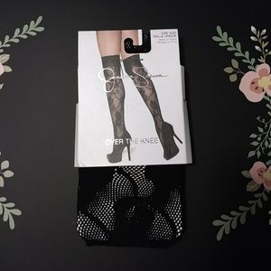 Jessica Simpson over the knee floral fishnet